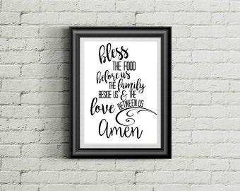 Bless The Food Before Us Sign, Bless The Food Sign, Dinner Prayer, Printable Wall Art, Home Decor, INSTANT DOWNLOAD, 8X10