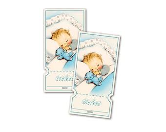 Digital Retro Baby Boy Raffle Tickets / vintage baby shower/ downloadable, printable / perfect for diaper raffle