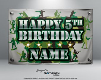 Army Man Camo Birthday Banner - Personalized Custom Banner