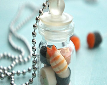sushis in a jar necklace- miniature food jewelry, bottle necklace
