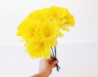 """50 Narcissus Yellow Artificial Silk Daffodil Yellow White Flowers 4.3"""" Floral Hair Accessories Flower Supplies Fake Faux Stems Spring Flower"""