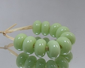 Lime Cream, Lampwork Spacer Beads, SRA, UK