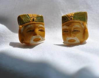 Vintage   Bakelite, Mans Face, Hand Carved & Signed Screw Back Earrings