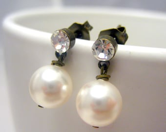 Bridal Jewels Stud Earrings // White Swarovski Pearls // Rhinestone Brass Stud Earrings // Simple Earrings under 15