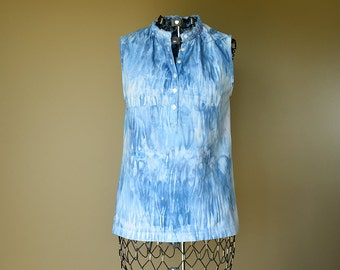 Baby Blue Tie Dye Sleeveless Shirt-Size Small S-Women's Clothing