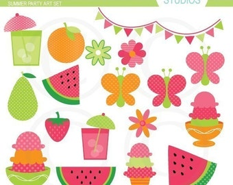Summer Party - Fruit and Ice Cream - Art Set
