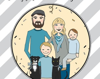 Custom Illustrations, Cards with Family Portraits,  Wedding Illustrations, Custom Portraits, Custom Illustrated Portraits