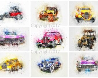 Printable Watercolor Cars #102 Instant Digital Download , Scrapbook Embellishments, Arts, Crafts, Decoupage