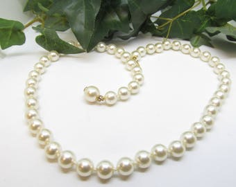 Vintage Faux Pearl Strand Goldtone Ornate Hidden Hook Clasp 19 Inch Light Cream Color Pearl Necklace  Pretty Lustrous Shine Pearl Necklace