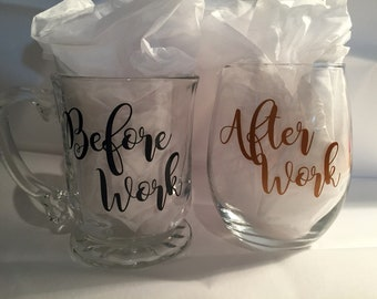 Before Work Coffee Mug and After Work Wine Glass Set - 18 Oz Stemless Wine Glass, 14 Oz Glass Coffee Mug - Ready to Ship