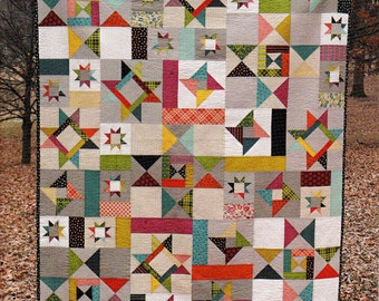 STARFALL  Quilt Pattern    A Scrappy Quilt Design by:  Fresh Lemons   #119