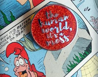 The Human World - Little Mermaid Themed Enamel Lapel Pin