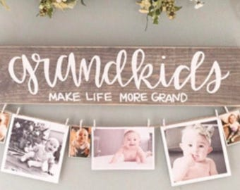Grandkids Make Life More Grand, wood wall decor, grandkids sign, wooden sign, grandparents sign, hanging wood sign