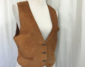 Vintage Bushwacker Brown Suede Southwestern Steampunk Style Vest Men's Small Women's M