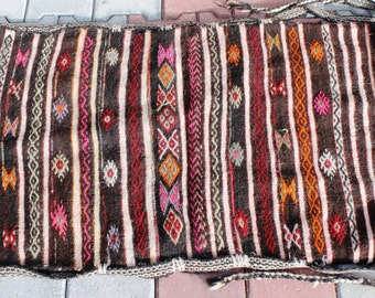 Vintage Handwoven Handmade Turkish Antique Wall Decor Kilim Sack -28 ''x46'' inch %100 WOOL -