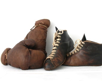 Fantastic French Vintage Boxing set with gloves and shoes. 1930.