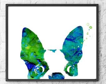 French bulldog art, blue green watercolor art print, wall home decor, animal art - 347А