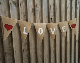 Valentines Day Bunting Valentines Day Decor Valentines Banner Love Decors Valentines Decor Burlap Wedding Banner Burlap Heart Banner Burlap