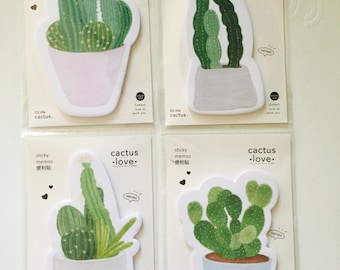 Cactus Sticky Notes in 4 Patterns
