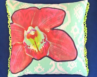 Medium pink orchid flower original photography throw pillow 16x16 inches on sea green and white designer fabric