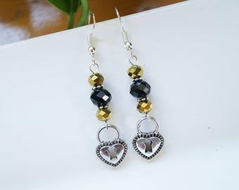 Black & Bronze Faceted Glass Heart Lock Earrings