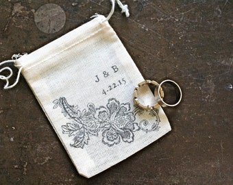 Personalized wedding ring bag, ring pillow alternative, ring warming, ring bearer accessory, black floral lace with custom initials and date