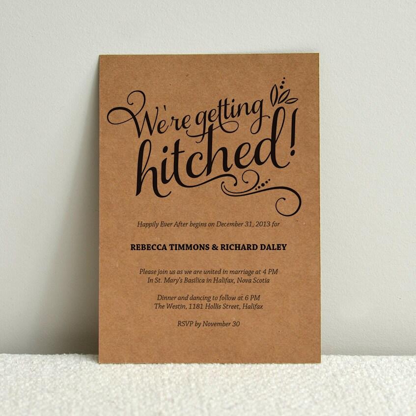 Casual Calligraphy / Kraft Paper Wedding Invitation / DIY