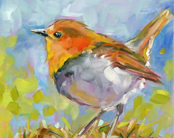 FRED a.k.a. THE CHIRPER small original bird robin oil painting by Jean Delaney size 6 x 6 inch on 1/8th inch gesso board