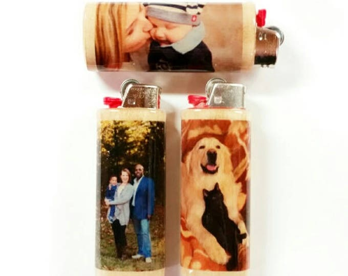 Custom Photo BIC Lighter Holder Case Sleeve Cover Personalized Image Gift Ideas
