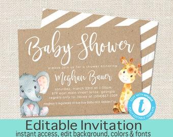 Elephant Baby Shower Invitation, Safari Elephant and Giraffe, Editable invitation Template, Kraft, Baby Elephant, Templett, Instant Download