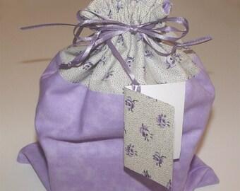 Fabric gift bag, drawstring bag, fabric gift wrap, lavender, purple, floral, matching gift card