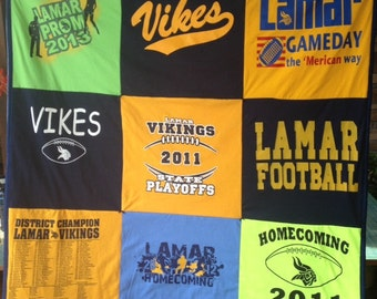 Tshirt Quilt 9 squares. Custom made from your tees.   50.00 Deposit is required at time of order.