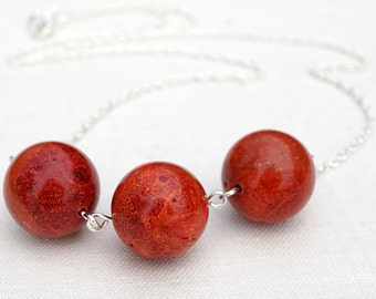 Red Coral Necklace Sterling Silver Chain for dad Modern Minimalist Simple Necklace Large Natural Sponge Coral Beads mens custom necklace