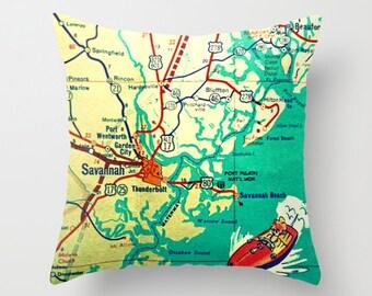 Savannah Map Pillow Cover 18x18, Savannah Gifts, Savannah Georgia Pillow, Georgia Gifts, GA Coast Map, Decorative Throw Pillow, Aqua Pillow
