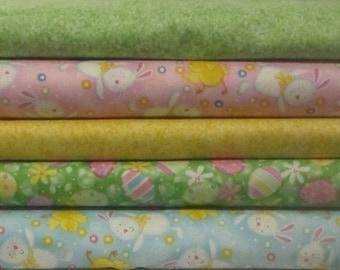 Easter Half Yard Fabric Bundle - Quilting Treasures - Eggs, Bunny, Easter Eggs