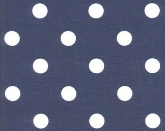 Premier Prints Polka Dot in Light Navy Blue White Twill Home Decor fabric, 1 yard