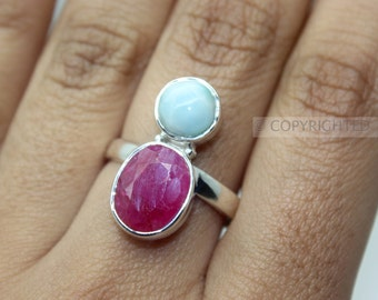 Larimar, Ruby Ring, 925 Sterling Silver Ring, Gemstone Rings, Crystal Rings, Healing Rings