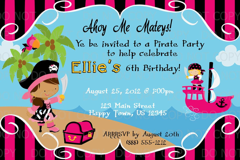 Printable diy girl pirate birthday party invitation zoom monicamarmolfo Choice Image