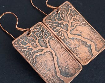 Copper Etched Dreaming Tree Earrings
