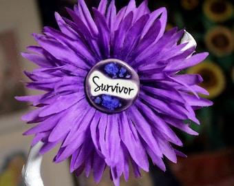 Survivor Flower Hair Clip in Purple