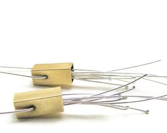 Firecracker Earrings in Brass and Sterling Silver - Long Dangle Modern Earrings Handmade by Queens Metal