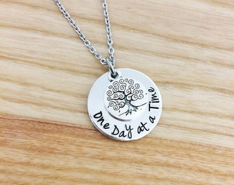 one day at a time, sobriety necklace, addiction recovery, one day at a time jewelry, tree of life necklace, hand stamped jewelry gift