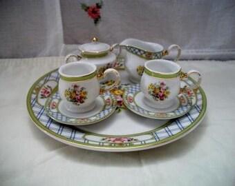 Miniature Floral Bouquet Doll Tea Set Blue Plaid Green Trim Flowers Tea Party
