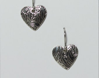 Antique reproduction Heart earrings on hypoallergenic surgical steel ear wires