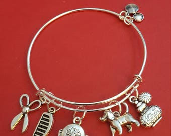 Silver Pet Groomer Themed Charm Bracelet