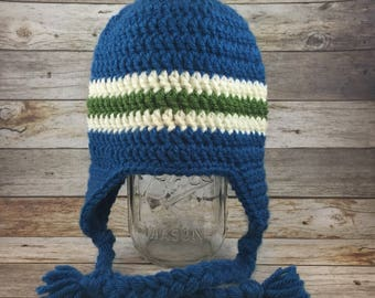 Ready to ship-Dark blue earflap hat with cream and bright green stripe-Size 3-6 months