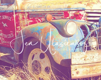 Rusty Old Colorful Tow Truck Photography Print, man cave