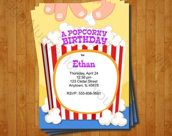 Popcorn Party Invitation - printable birthday invite for a  Movie or Popcorn Party