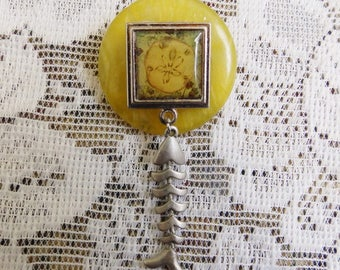 Sand Dollar Jewelry, sand dollar pin, fish skeleton pin, beach jewelry, one-of-a-kind pin