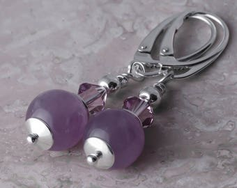 Sterling Silver Long Leverback Dangle Earrings Gemstone Natural Amethyst & Crystals from Swarovski®